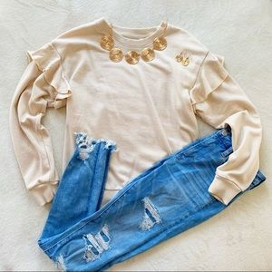 🌵 AERIE ruffle sleeve pullover sweater